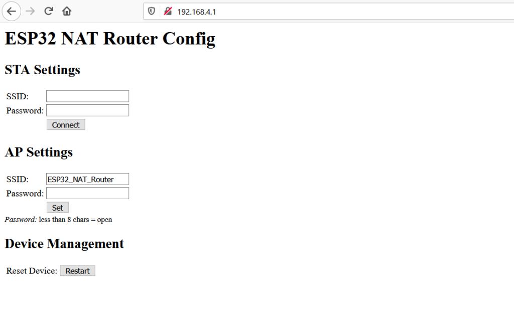 ESP32 NAT router web interface